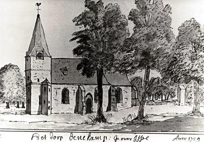 Pentekening R.K. Kerk Denekamp 1729 (bron: regiocanons.nl)